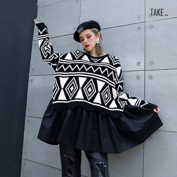New Fashion Style Pattern Pleated Big Size Knitting Sweater Fashion Nova Clothing TAKE IMAGE