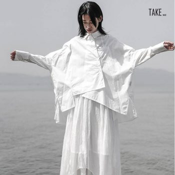 New Fashion Style White Loose Oversize Irregular Loose Shirt Fashion Nova Clothing TAKE IMAGE