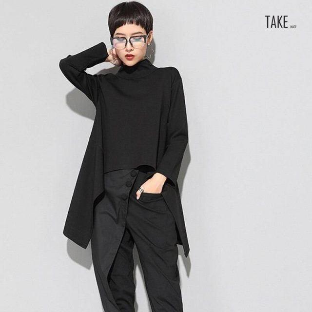 New Fashion Style Black Irregular Hem Loose T-Shirt Fashion Nova Clothing TAKE IMAGE