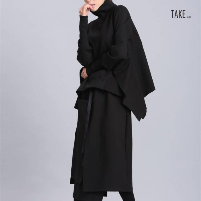 New Fashion Style Loose Fit Black Asymmetrical Over Sized Sweat Shirt Blouse Fashion Nova Clothing TAKE IMAGE