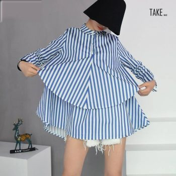 New Fashion Style Blue Striped Loose Big Size Double-deck Shirt Blouse Fashion Nova Clothing TAKE IMAGE