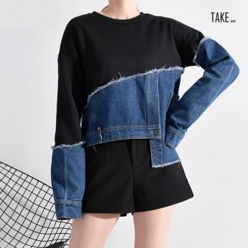 New Fashion Style Fit Denim Burr Split Asymmetrical Sweat Shirt Blouse Fashion Nova Clothing TAKE IMAGE