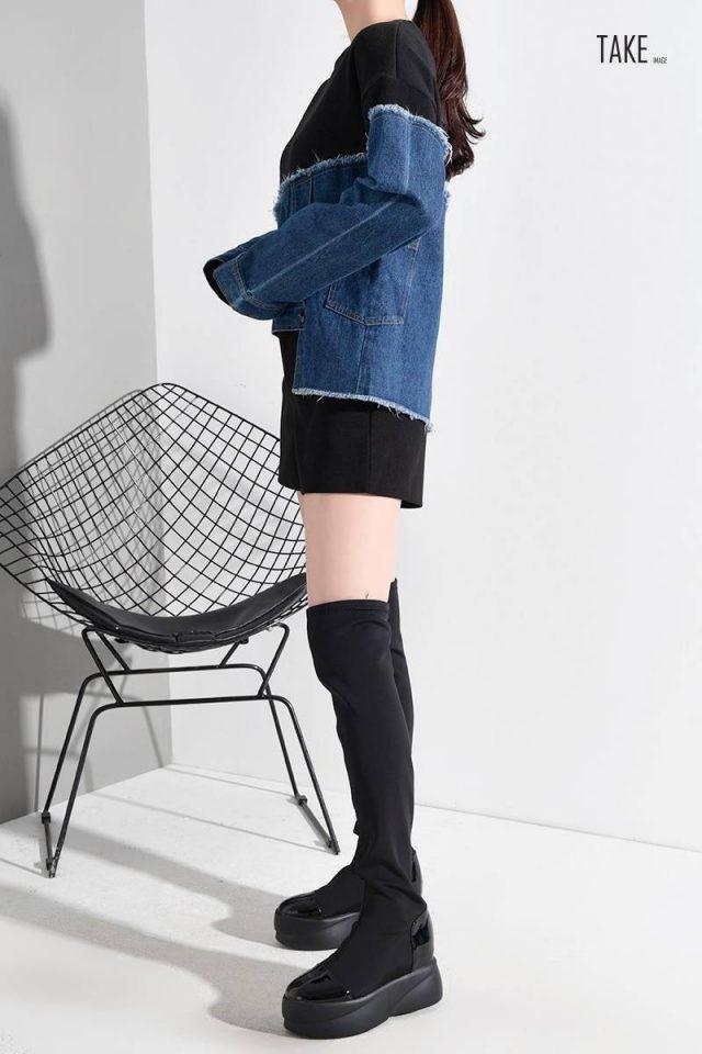 New Fashion Style Fit Denim Burr Split Asymmetrical Sweat Shirt Blouse Fashion Nova Clothing TAKE IMAGE