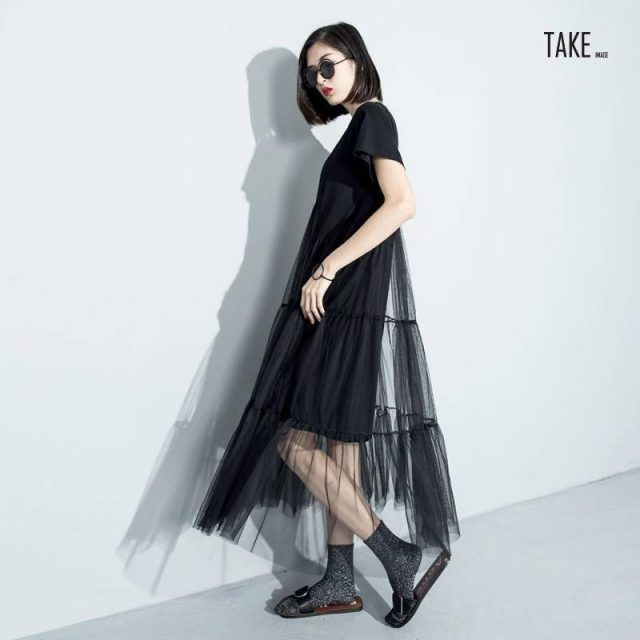 New Fashion Style Black Asymmetrical Mesh Split Joint Dress Fashion Nova Clothing TAKE IMAGE