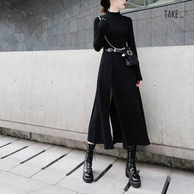 New Fashion Style Stand Collar Black Hem Vent Loose Irregular Split Joint Dress Fashion Nova Clothing TAKE IMAGE