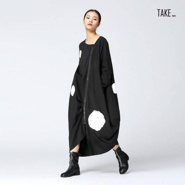 New Fashion Style Big Dot Split Joint Loose Big Size Black Dress Fashion Nova Clothing TAKE IMAGE