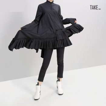New Fashion Style Black White Pleated Spliced Big Hem Dress Fashion Nova Clothing TAKE IMAGE