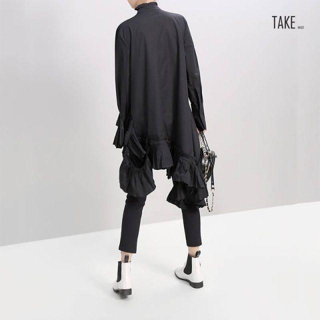 New Fashion Style Black White Pleated Spliced Big Hem Dress Fashion Nova Clothing TAKE IMAGE
