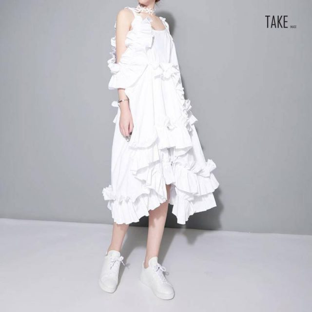 New Fashion Style Irregular Multi Layer Ruffles Sexy White Dress Fashion Nova Clothing TAKE IMAGE