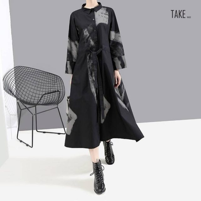 New Fashion Style Black Print Hit Color Vintage Dress Fashion Nova Clothing TAKE IMAGE