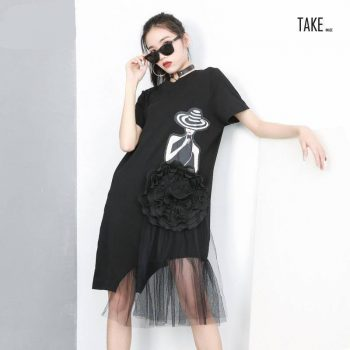 New Fashion Style Black Pattern Printed Mesh Stitch Loose Dress Fashion Nova Clothing TAKE IMAGE
