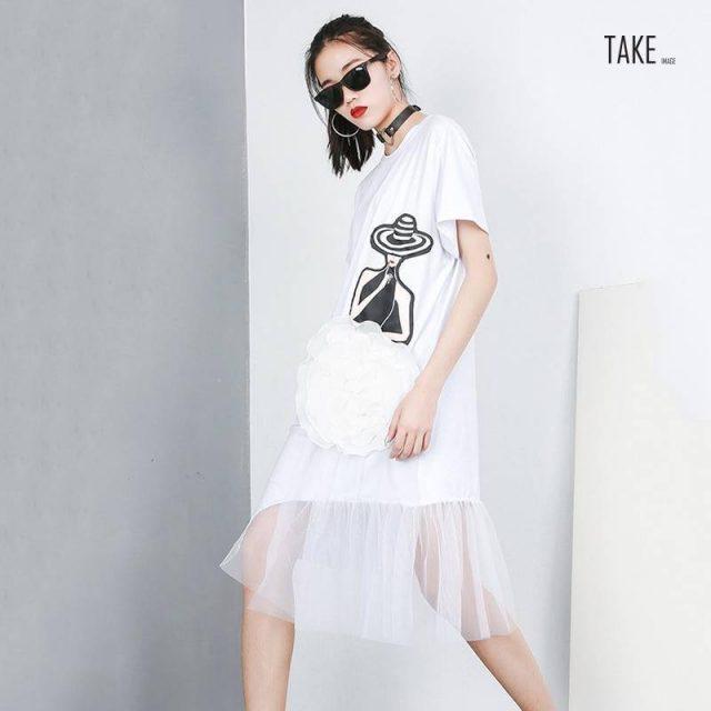 New Fashion Style Black Pattern Printed Mesh Stitch Loose Dress Fashion Nova Clothing TAKE IMAGE