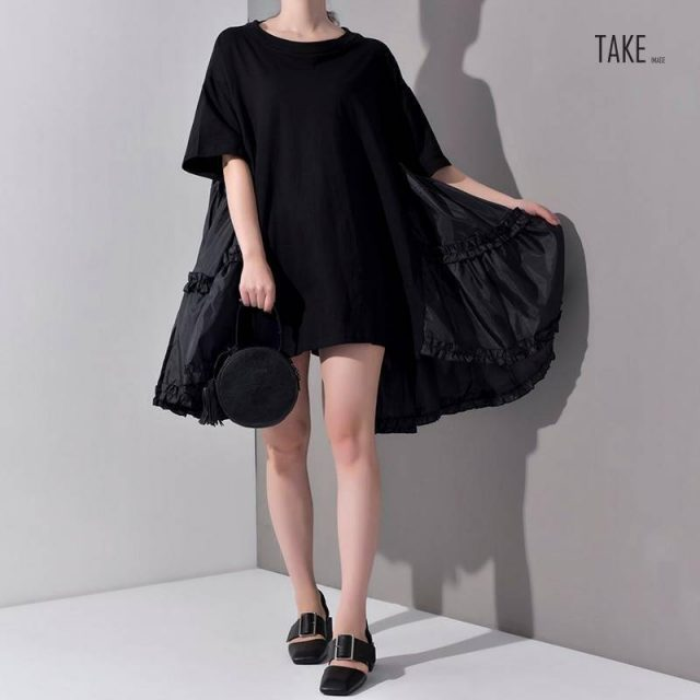 New Fashion Style Pleated Split Joint Loose Oversize Big Size Dress Fashion Nova Clothing TAKE IMAGE