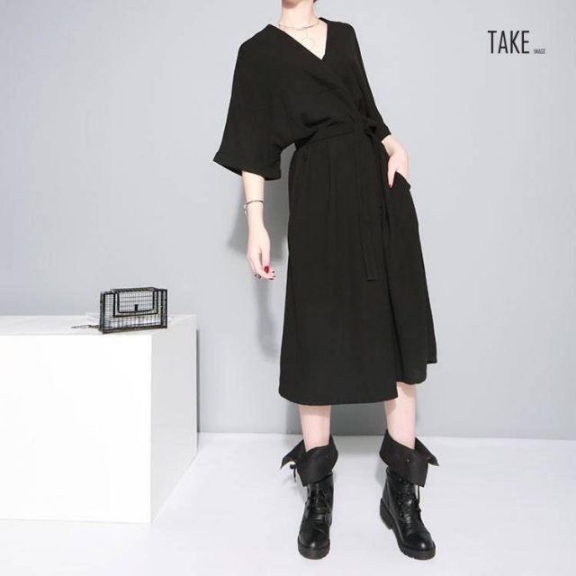 New Fashion Style Bandage Loose Temperament Loose Big Size Chiffon Dress Fashion Nova Clothing TAKE IMAGE