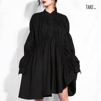 New fashion style Black Pleated Fold Stitch Irregular Big Size Dress Fashion Nova Clothing TAKE IMAGE