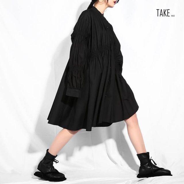 New fashion style Black Pleated Fold Stitch Irregular Big Size Dress Fashion Nova Clothing TAKE IMAGE
