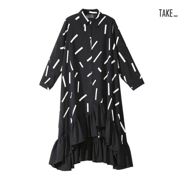 New Fashion Style Black Striped Split Joint Ruffles Hem Loose Dress Fashion Nova Clothing TAKE IMAGE
