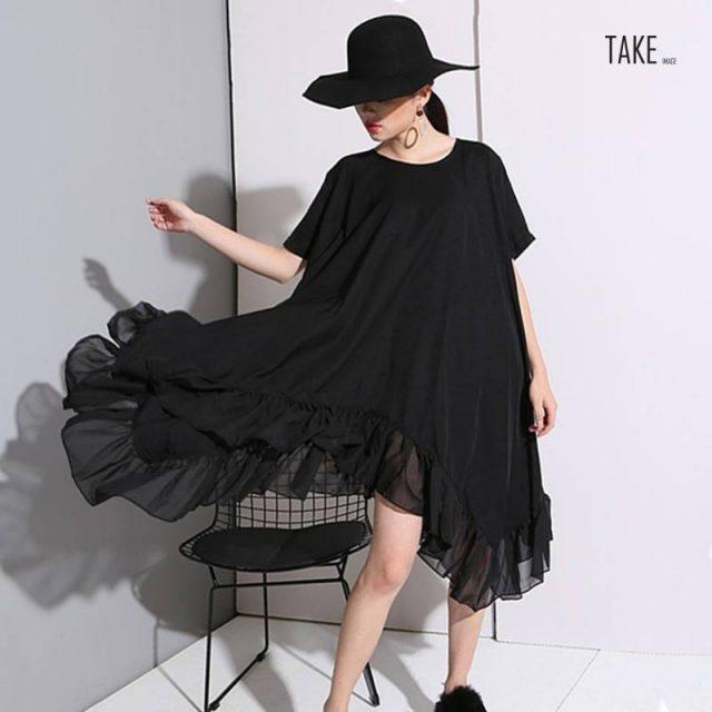 New fashion Style Big Size Loose Fashion Korea Style Irregular Black Chiffon Dress Fashion Nova clothing TAKE IMAGE