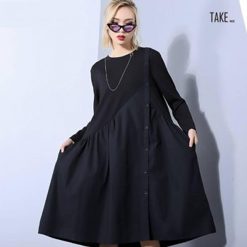 New Fashion Style Black Loose Pleated Irregular Split Joint Dress Fashion Nova Clothing TAKE IMAGE