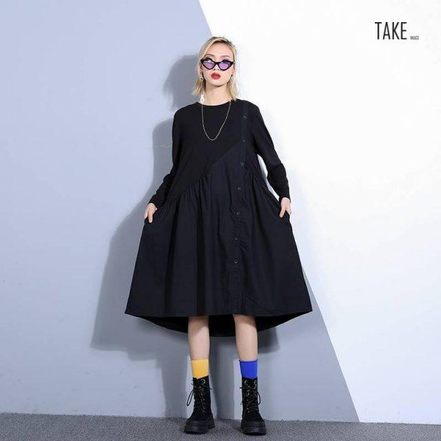New Fashion Style Black Loose Pleated Irregular Split Joint Dress Fashion Nova Clothing TAKE IMAGE