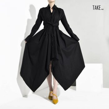 New Fashion Style Black Bandage Asymmetrical Shirt Dress Fashion Nova Clothing TAKE IMAGE
