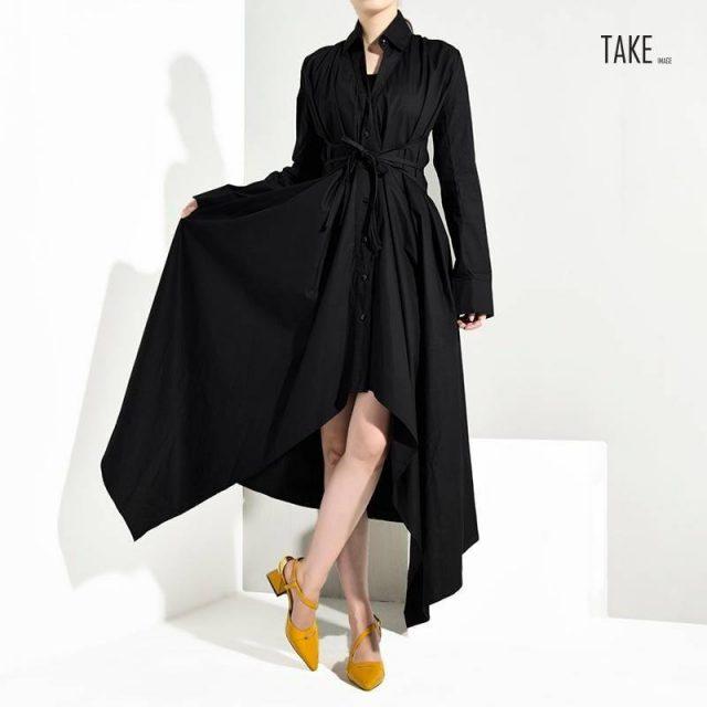 New Fashion Style Black Bandage Asymmetrical Shirt Dress Fashion Nova Clothing TAKE IMAGE