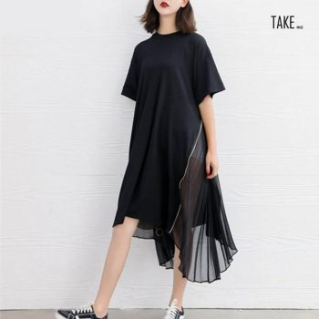 New fashion style Loose Spliced Pleated Chiffon Irregular Dress Fashion Nova Clothing TAKE IMAGE