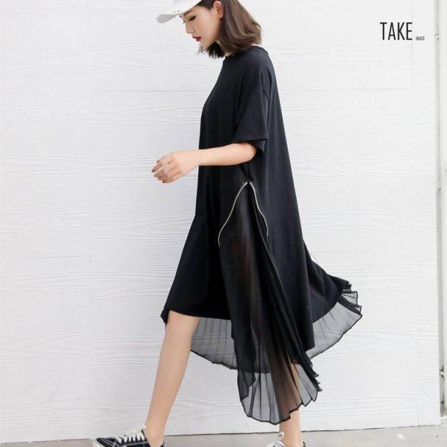 New fashion style Loose Spliced Pleated Chiffon Irregular Dress Fashion Nova Clothing TAKE IMAGE