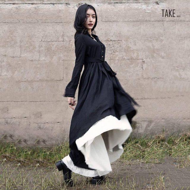 New Fashion Style Black Loose Hem Irregular Pleated Bandage Two Piece Dress Fashion Nova Clothing TAKE IMAGE