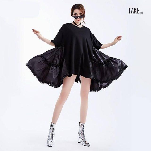 New Fashion style Black Loose Big Size Ruffles Pleated Stitch Dress Fashion Nova Clothing TAKE IMAGE