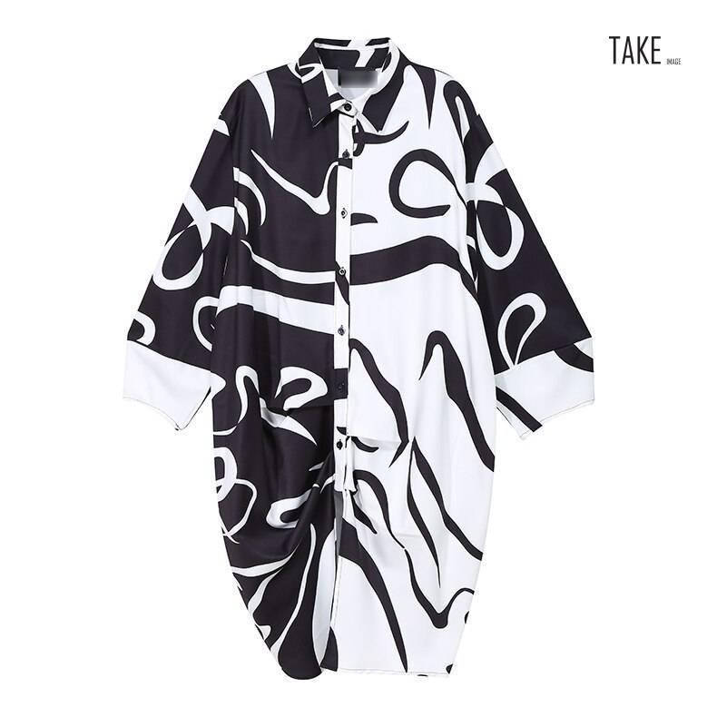 New Fashion Black And White Tie Dye Print Shirt Dress
