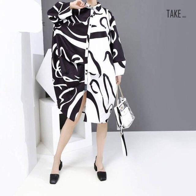 New Fashion Black And White Tie Dye Print Shirt Dress TAKE IMAGE