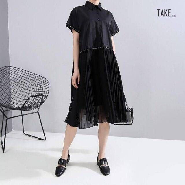 New Fashion Black Pleated Chiffon Hem Lapel Shirt Dress TAKE IMAGE
