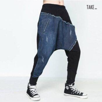 New Fashion Japanese Style Denim Patchwork Vintage Hip Hop Pants TAKE IMAGE