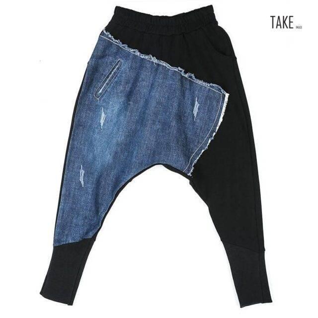 New Fashion Japanese Style Denim Patchwork Vintage Hip Hop Pants TAKE IMAGE