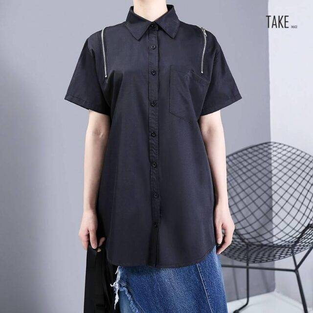 New Fashion Oversized Hollow Out Convertible Hipster Blouse Shirt TAKE IMAGE