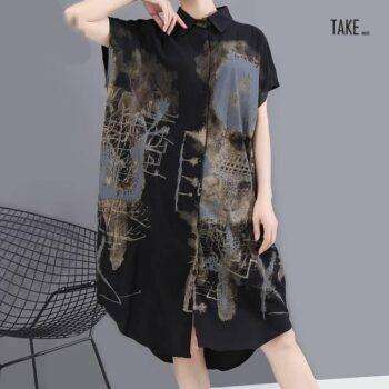 New Fashion Painted Style Black Vintage Shirt Dress TAKE IMAGE