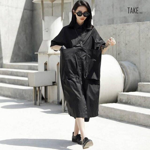 New Fashion Pocket Short-Sleeve Plus Size Shirt Dress TAKE IMAGE