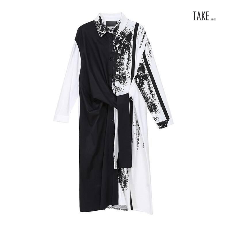 New Fashion Sashes Printed Painted Style Plus Size Long Sleeve Shirt Dress