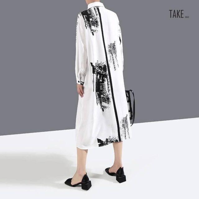 New Fashion Sashes Printed Painted Style Plus Size Long Sleeve Shirt Dress TAKE IMAGE