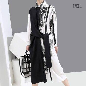 New Fashion Sashes Printed Painted Style Plus Size Long Sleeve Shirt Dress TAKE IMAGE