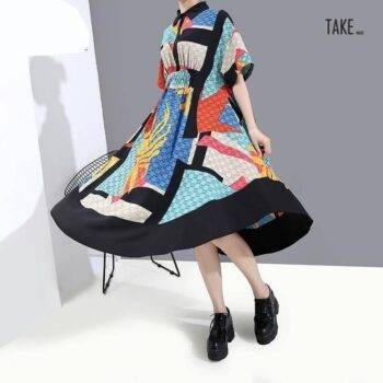 New Fashion Short-Sleeve Knee Length A-Line Shirt Dress TAKE IMAGE