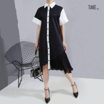 New Fashion Style Patchwork Shirt Dress Chiffon Ladies Elegant Style TAKE IMAGE