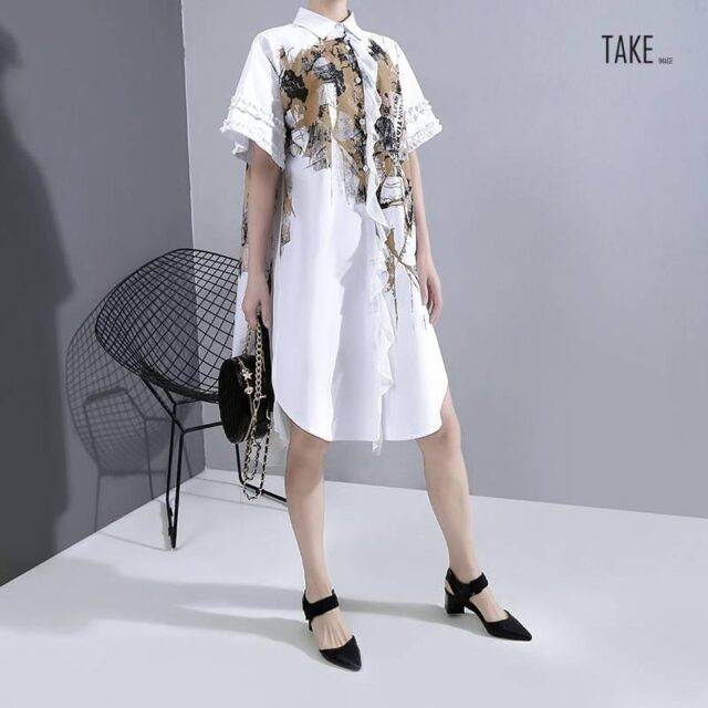 New Fashion Unique Style Plus Size White Printed Chiffon Shirt Dress TAKE IMAGE
