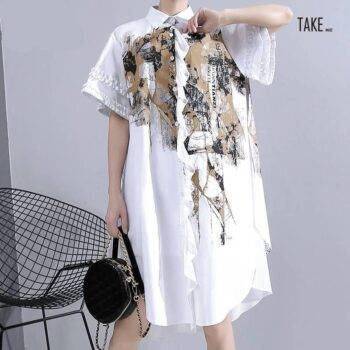 New Fashion Unique Style Plus Size White Printed Chiffon Shirt Dress TAKE IMAGE
