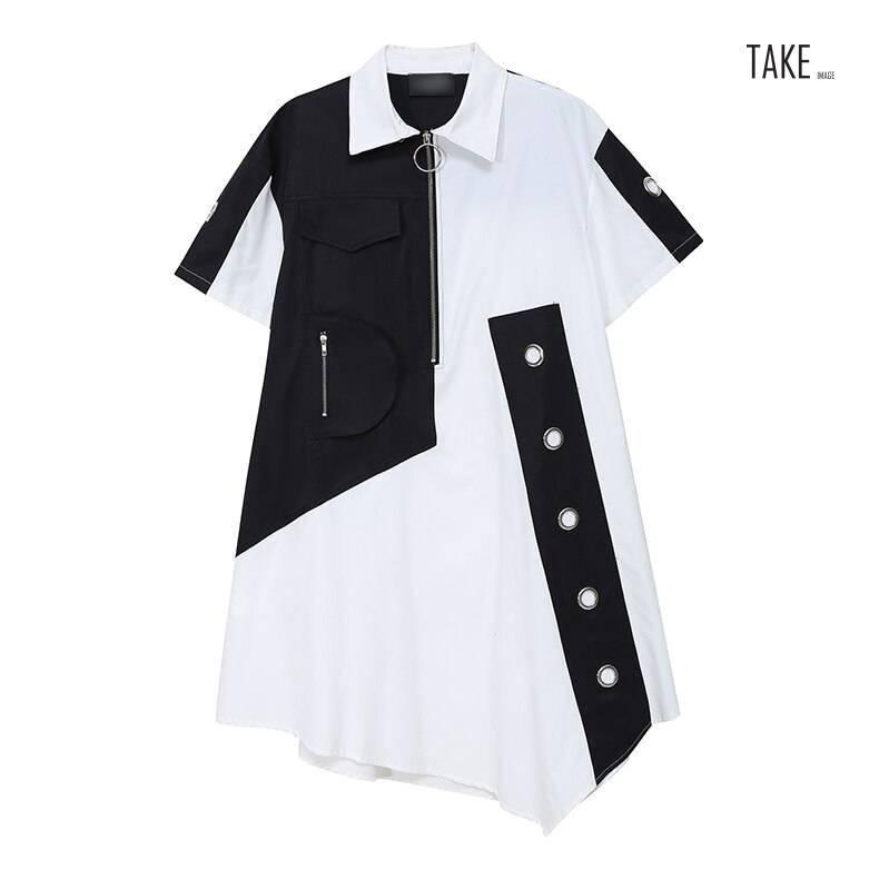 New Fashion Unique Style Tide Shirt Dress Zipper Pocket Patchwork Plus Size Dresses