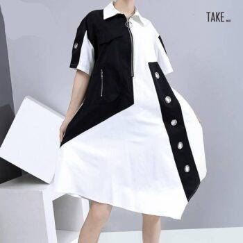 New Fashion Unique Style Tide Shirt Dress Zipper Pocket Patchwork Plus Size Dresses TAKE IMAGE