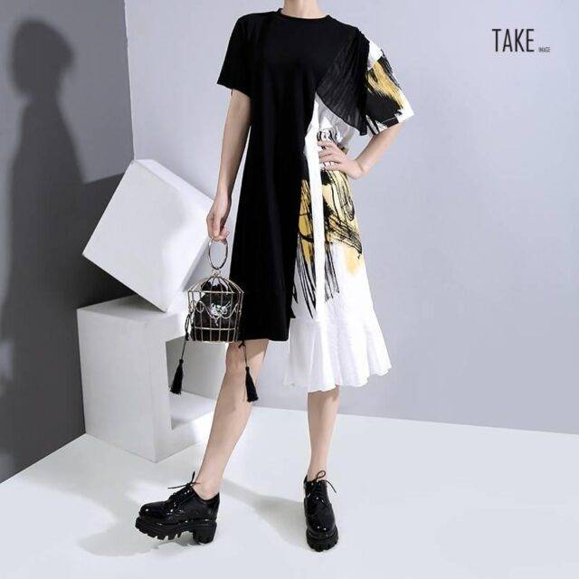New Fashion Hit Color Design Woman Party Stylish Summer Black Patchwork Dress TAKE IMAGE